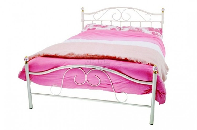 Metal Beds Sussex 4ft 120cm Small Double Crystal White Metal Bed