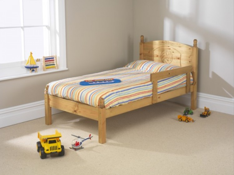 Friendship mill football 2ft6 small single pine wooden bed for Small bed frame