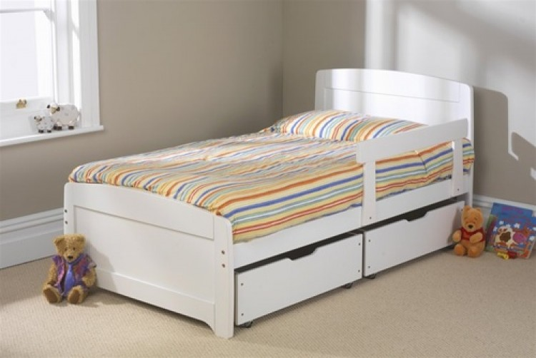 ... White 3ft by 5ft9 SHORT Single Wooden Bed Frame by Friendship Mill