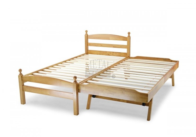 Single Metal Bed : Metal Beds Palermo 3ft (90cm) Single Maple Wooden Guest Bed by Metal ...