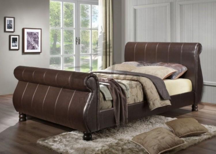 Birlea Marseille 5ft Kingsize Brown Faux Leather Sleigh Bed By Birlea