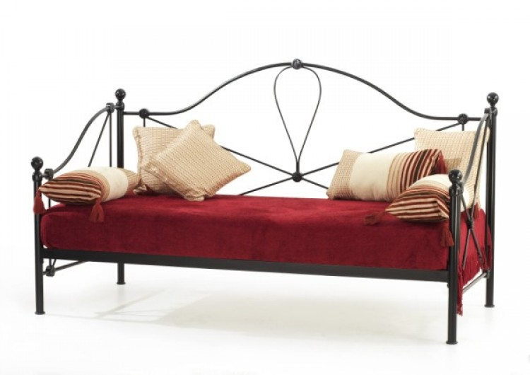 Serene Lyon 2ft6 Small Single Black Metal Day Beds