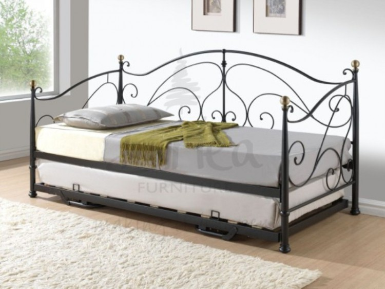 Birlea Milano 3ft Single Black Metal Day Bed Frame with Trundle by ...