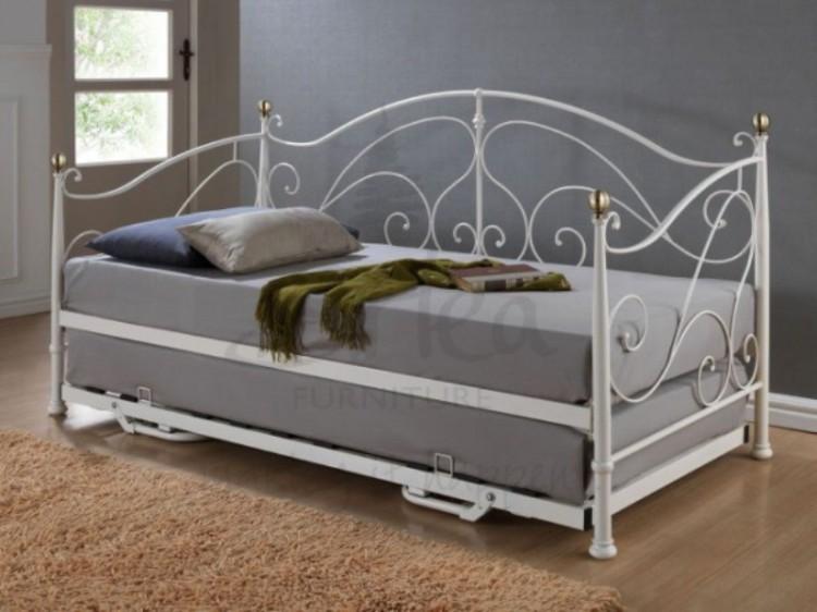 Birlea Milano 3ft Single Cream Metal Day Bed Frame With