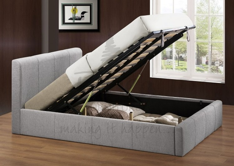 check out 63cc8 7bb75 Birlea Brooklyn Grey Fabric 4ft Small Double Ottoman Bed ...