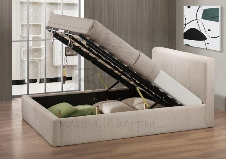 a53e25b3ec90 Birlea Brooklyn Wheat Fabric 4ft Small Double Ottoman Bed Frame by Birlea