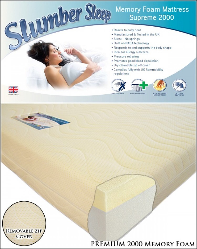 Time Living Slumber Sleep Premium 2000 3ft Single Memory Foam Mattress Bundle Deal By Bundles