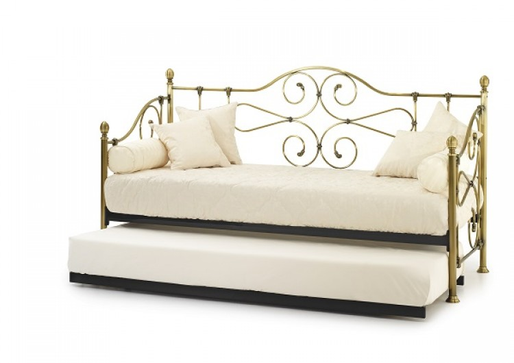 Serene Florence 3ft Antique Brass Metal Day Bed Frame With