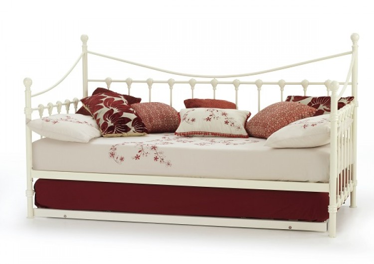 Serene Marseilles 3ft Single Ivory Metal Day Bed Frame with Under