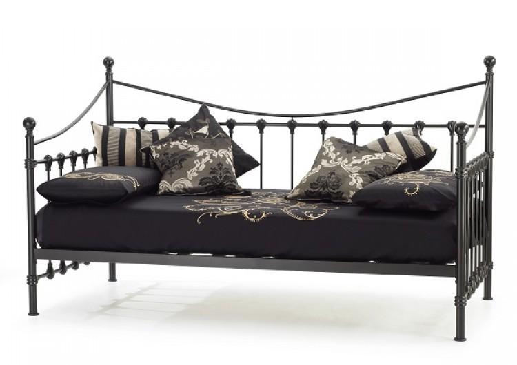 Serene Marseilles 3ft Single Black Metal Day Bed Frame