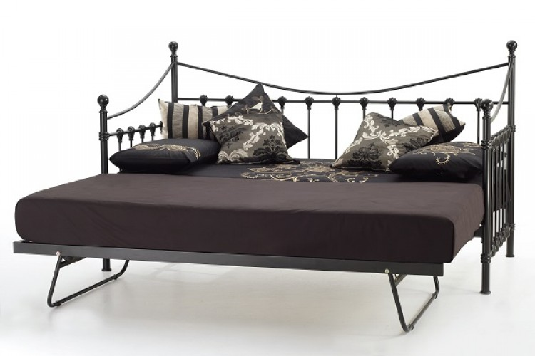 Bed frames for teens - Single Black Metal Day Bed Frame With Under Bed By Serene Furnishings
