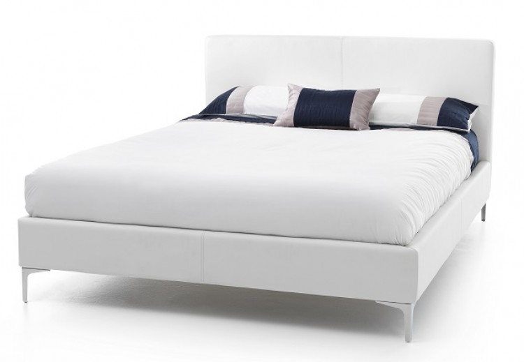 Serene Monza 4ft6 Double White Faux Leather Bed Frame By