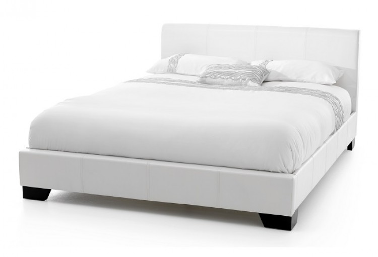 Serene Parma 4ft Small Double White Faux Leather Bed Frame By Serene