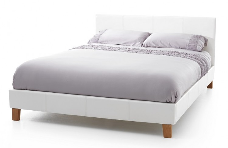premium selection 9512c fb9a8 Serene Tivoli 4ft Small Double White Faux Leather Bed Frame ...