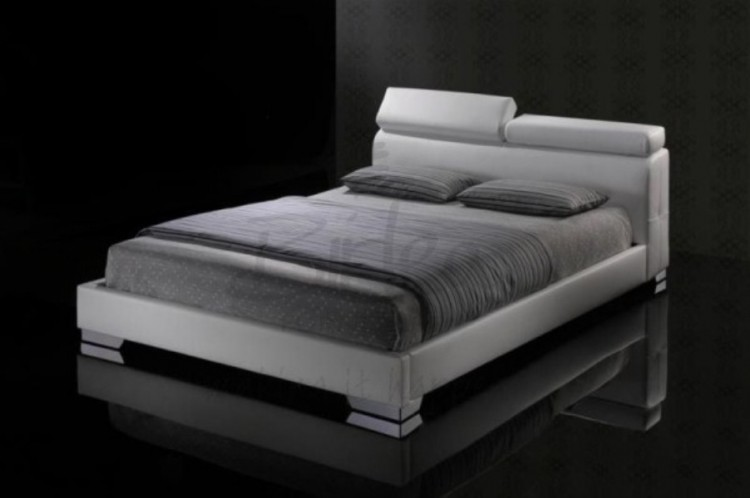 Birlea Signature 4ft6 Double White Faux Leather Bed Frame By Birlea