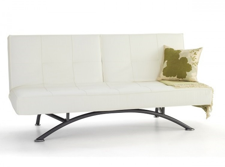 Serene Pavia Orchard White Faux Leather Sofa Bed By