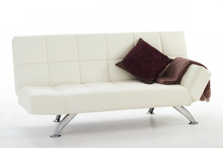 serene venice orchard white faux leather sofa bed by serene furnishings. Black Bedroom Furniture Sets. Home Design Ideas