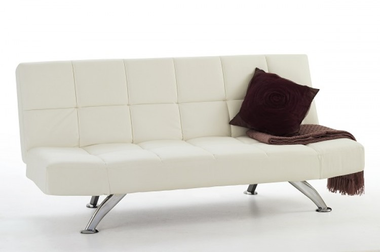 Orchard White Faux Leather Sofa Bed