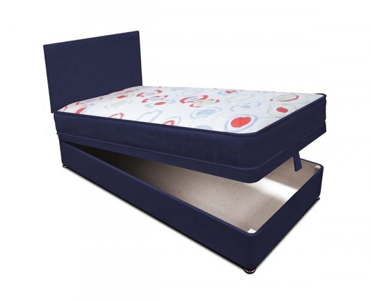 Joseph planet navy 2ft 6 small single open coil bonnell for Single divan beds with mattress and headboard