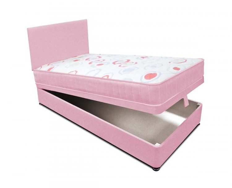 Joseph planet pink 3ft single open coil bonnell spring for Single divan beds with mattress and headboard