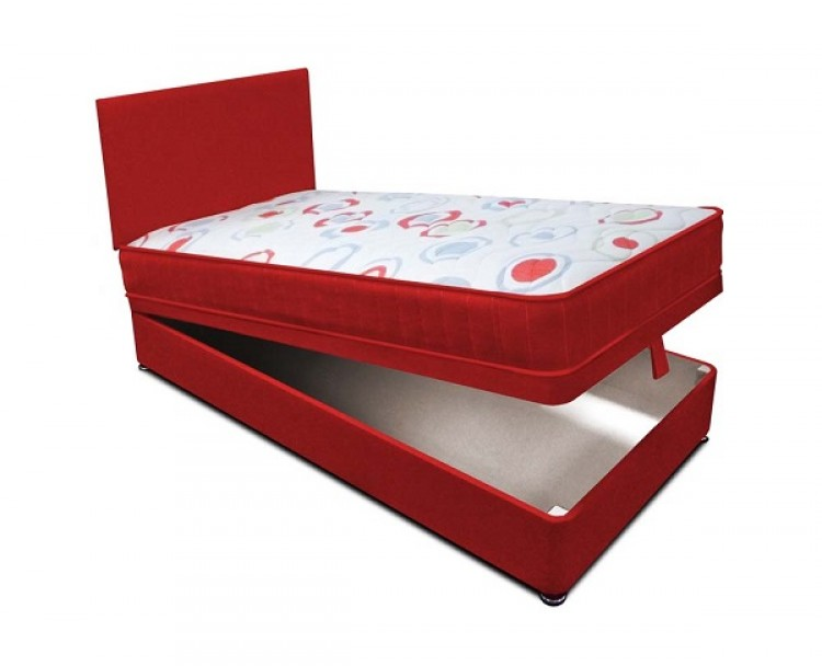 Joseph planet red 3ft single open coil bonnell spring for Best single divan beds