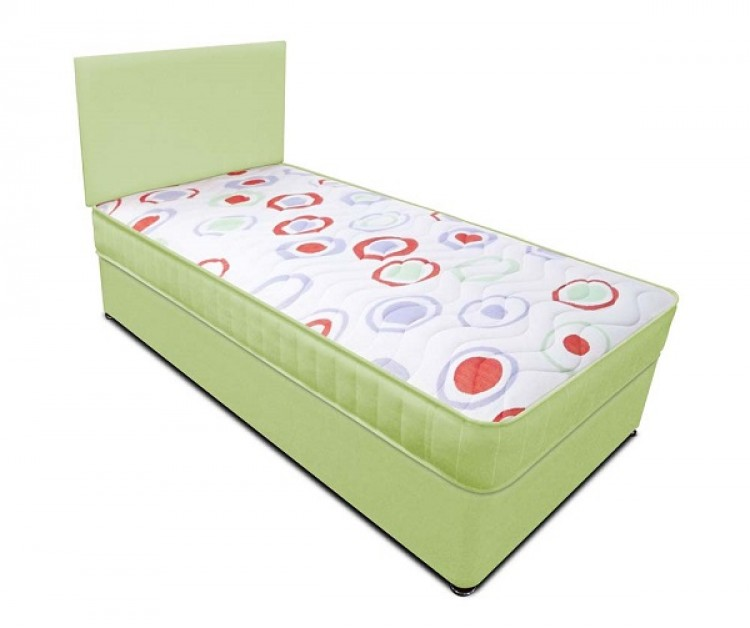 Joseph planet lime 3ft single open coil bonnell spring for Single divan bed with headboard