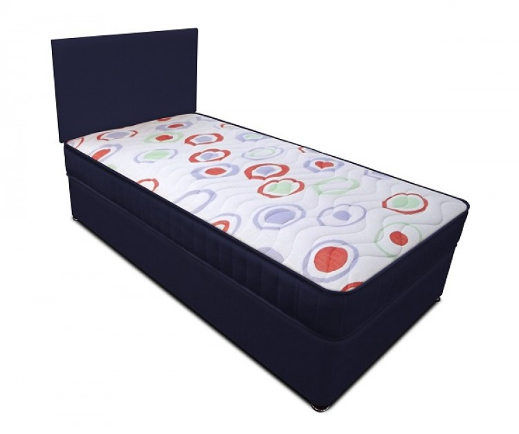 Joseph planet navy 3ft single open coil bonnell spring for Single divan beds with mattress and headboard