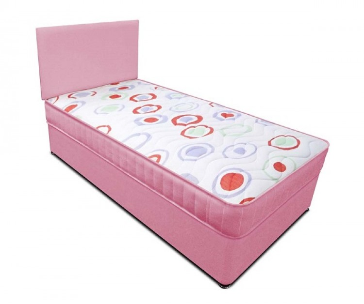 Joseph Planet Pink 3ft Single Open Coil Bonnell Spring Divan Bed With Free Headboard