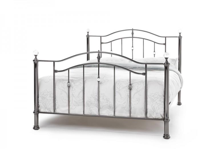 serene ashley 6ft super king size black nickel metal bed frame with crystals