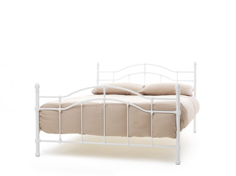 Serene Paris 4ft Small Double White Gloss Metal Bed Frame By Serene