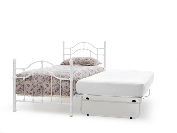 Serene Paris 3ft Single White Gloss Metal Guest Bed Frame By Serene