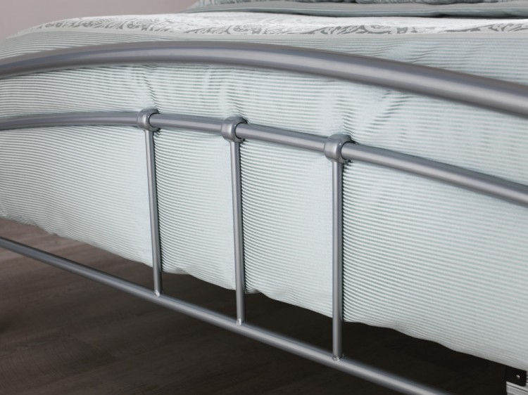 serene tetras 3ft single silver and white metal bed frame - Silver Metal Bed Frame