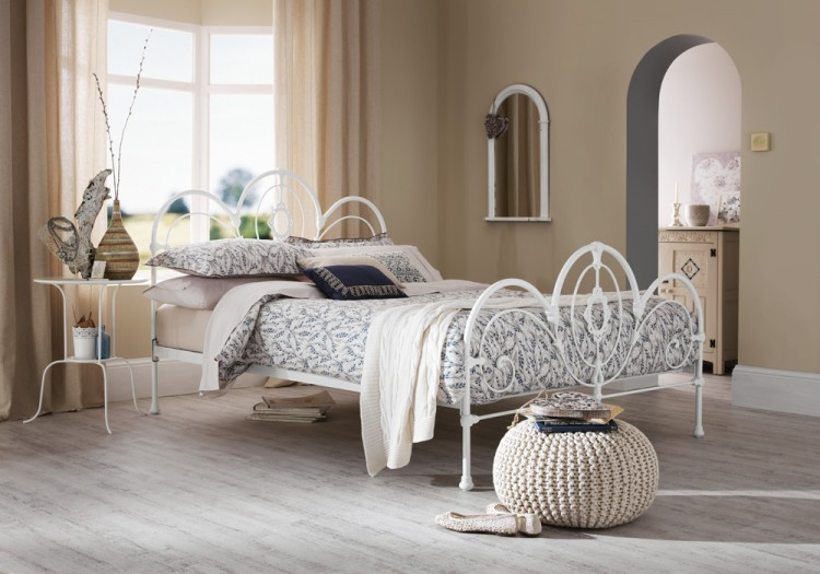 Serene Harriet 5ft King Size White Metal Bed Frame by ...