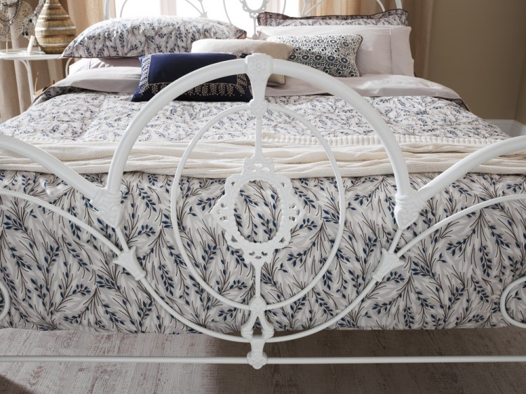Serene Harriet 4ft6 Double White Metal Bed Frame By Serene