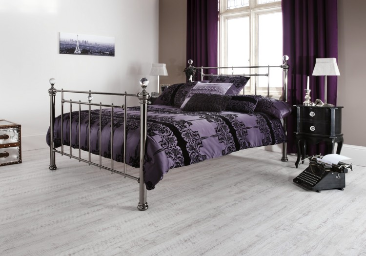 Serene Clara 4ft6 Double Black Nickel Metal Bed Frame with Crystals ...
