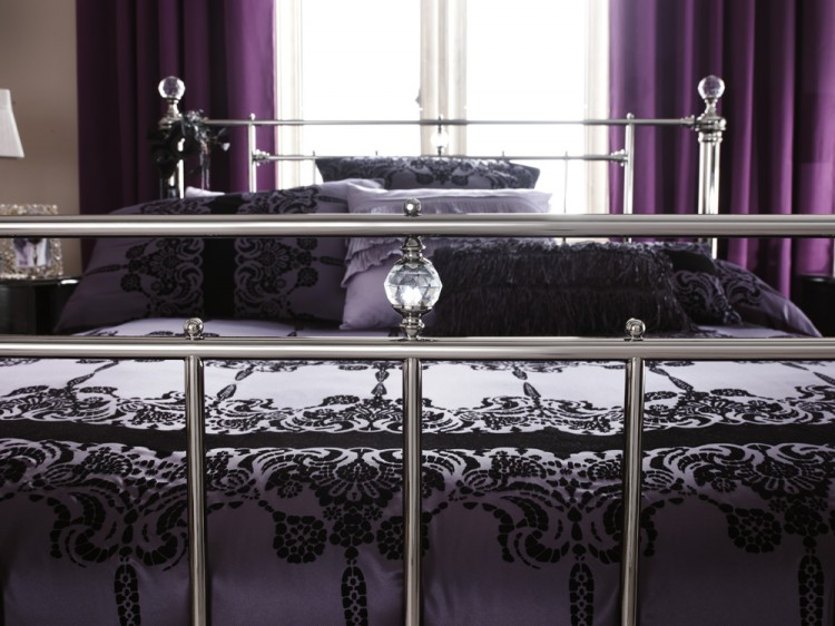 Nickel Bed Frame With Crystals