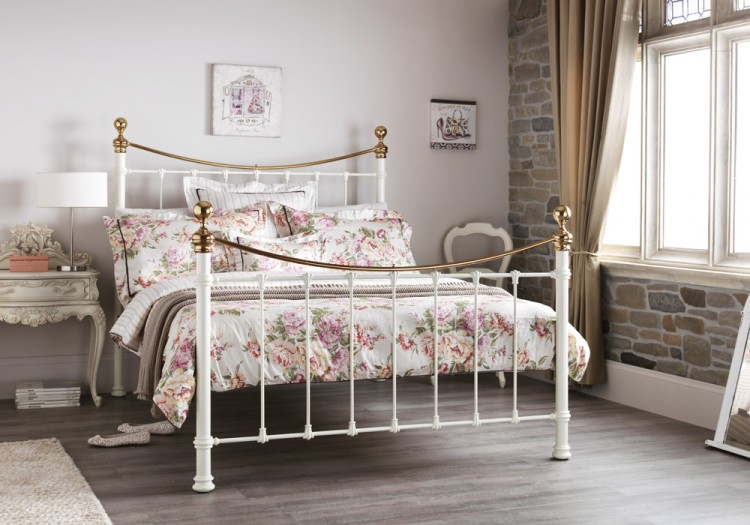 Serene ethan ivory gloss with brass 4ft small double metal for Small king bed frame