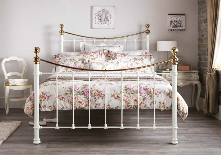 Serene Ethan Ivory Gloss With Brass 4ft Small Double Metal Bed Frame