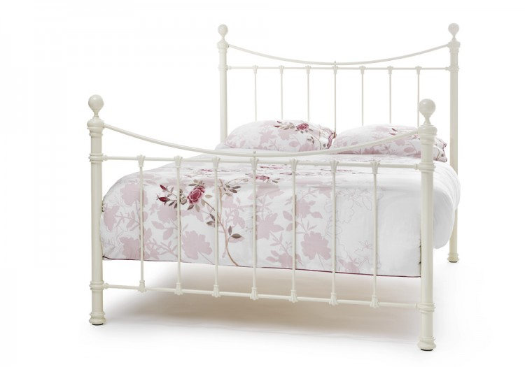 Serene Ethan Ivory Gloss 4ft Small Double Metal Bed Frame By Furnishings