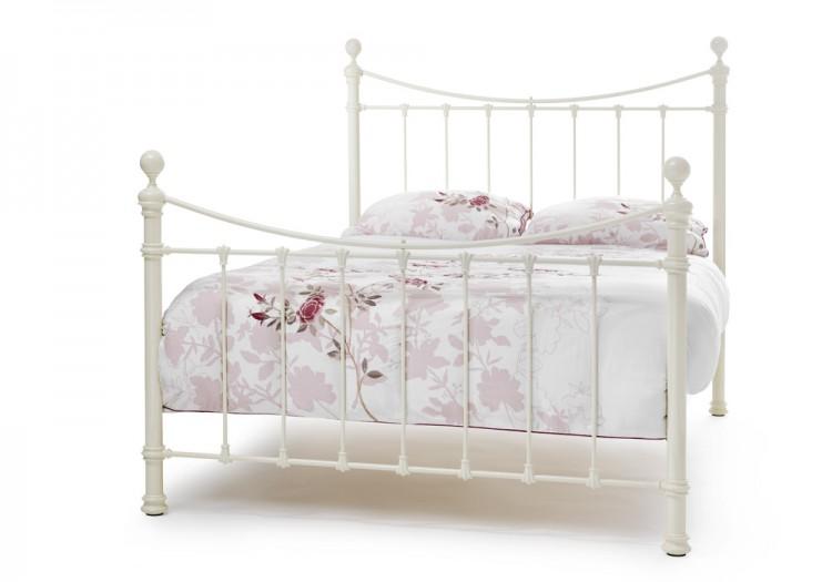 Serene Ethan Ivory Gloss 6ft Super King Size Metal Bed Frame