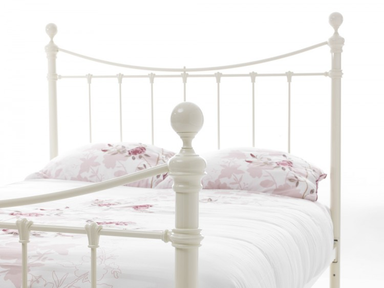 Serene Ethan Ivory Gloss 4ft Small Double Metal Bed Frame By Serene