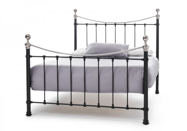 Serene Ethan Black With Nickel 5ft King Size Metal Bed Frame By