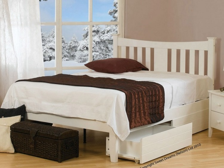 White Double Bed Frame 750 x 562