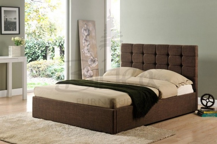 Birlea isabella 4ft6 double brown upholstered fabric bed for Bed frame with cushioned headboard