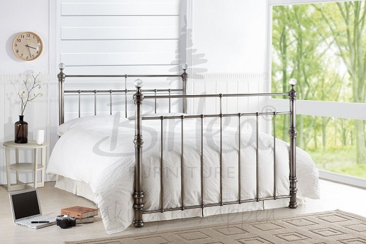 Birlea Georgina 5ft King Size Brushed Nickel Metal Bed Frame with ...
