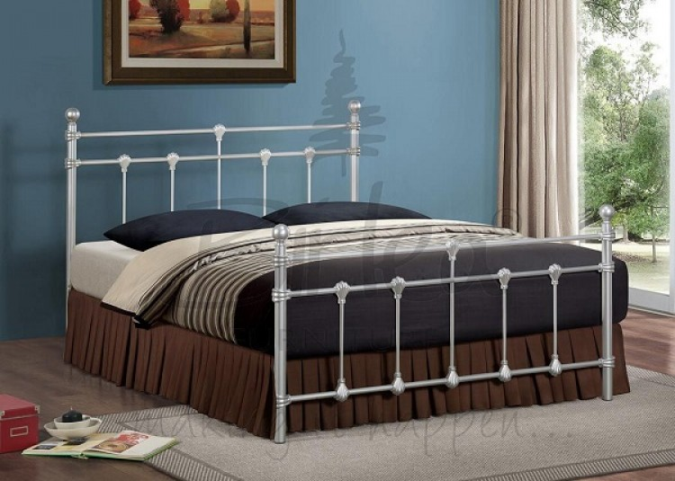 Birlea Atlas Bed Frame 4ft Small Double Silver Metal Bed Frame