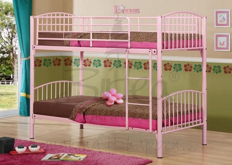Birlea Corfu Pink Metal Bunk Bed Frame By Birlea