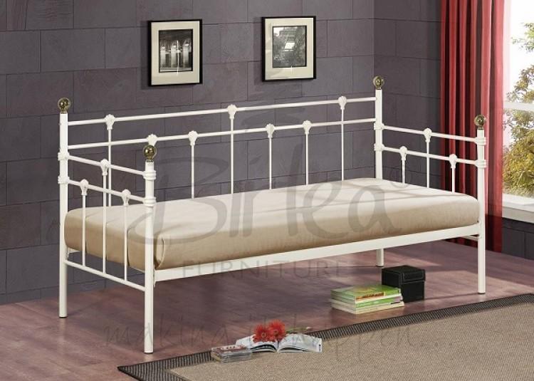 Birlea Atlas Day Bed Frame 3ft Single Cream Metal Bed Frame