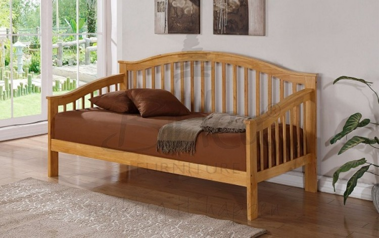Birlea Savannah Wooden Day Bed Frame With Oak Finish By Birlea