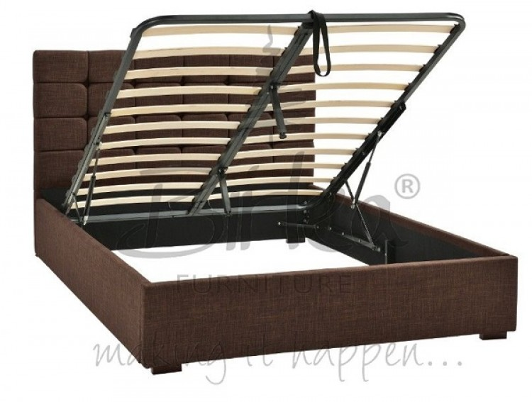 89a0a88050d0a4 ... Birlea Isabella 4ft6 Double Brown Upholstered Fabric Ottoman Bed Frame.  Show More Information